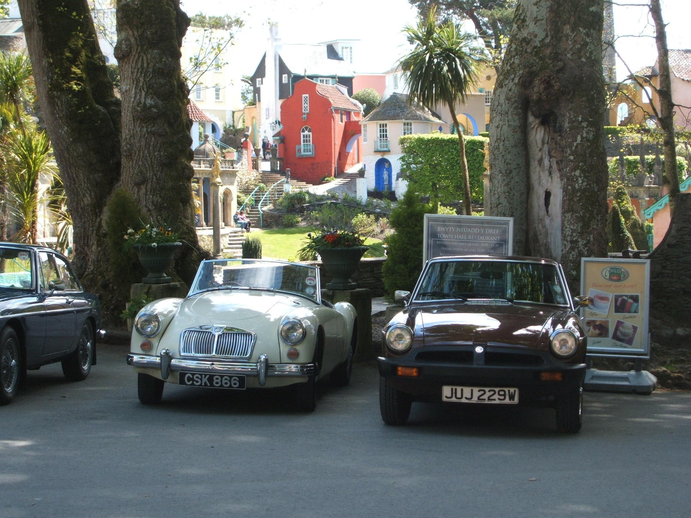 Members cars parked in Port Merrion on the tour during the Wales trip ac 1